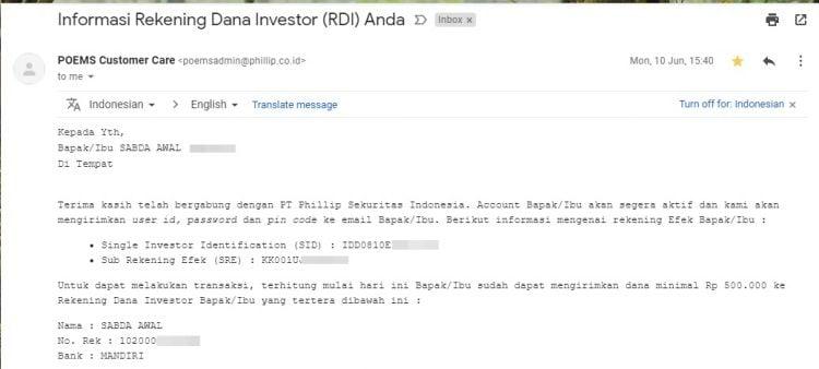 konfirmasi rekening dana investor