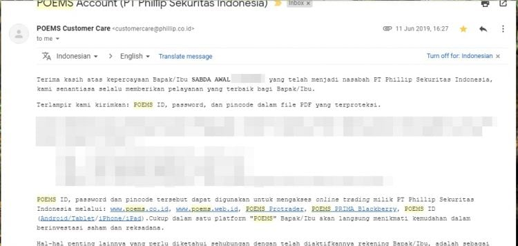 konfirmasi user dan password phillip sekuritas