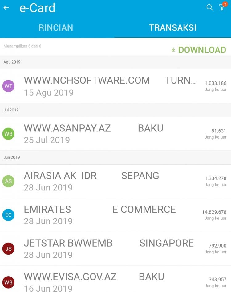 transaksi e-card bank btpn jenius