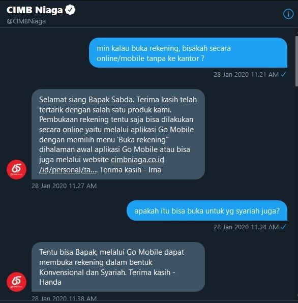 tanya pembukaan rekening online di CIMB Niaga