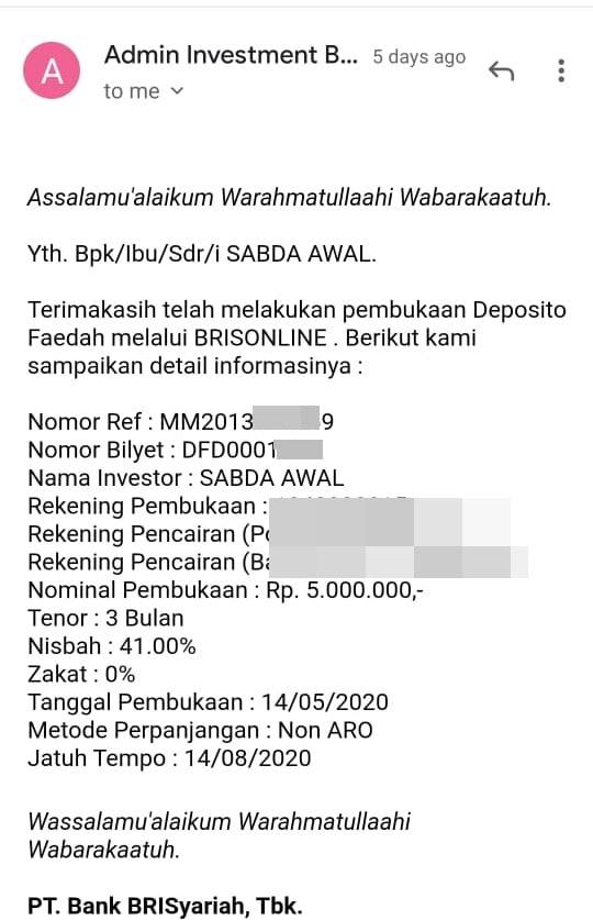 Konfirmasi pembukaan deposito melalui email