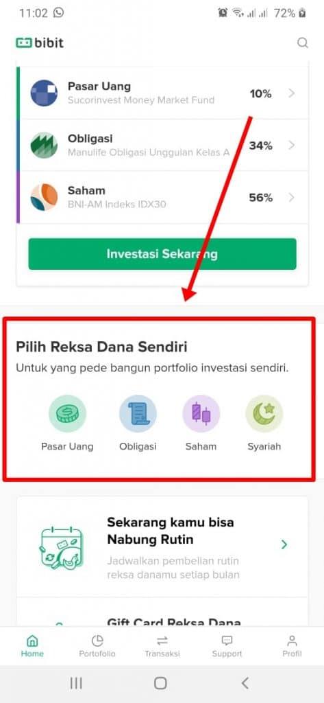 pilih reksa dana sendiri di Bibit