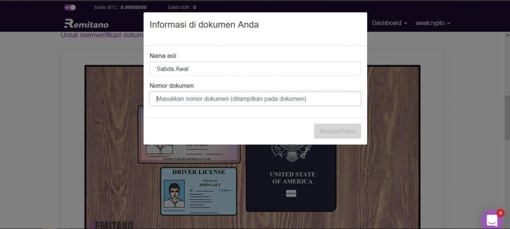 proses verifikasi akun di Remitano