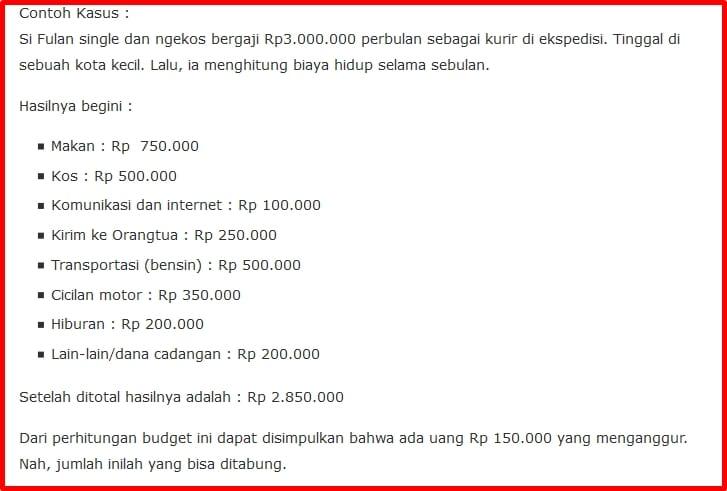 Contoh perhitungan pengeluaran Gaji 3 Juta
