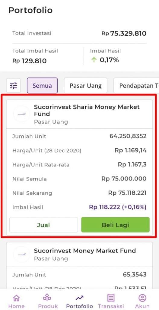 reksa dana pasar uang dibawah 1 tahun