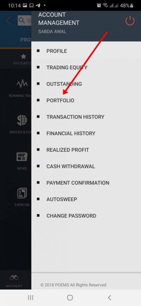 Pilih menu portofolio