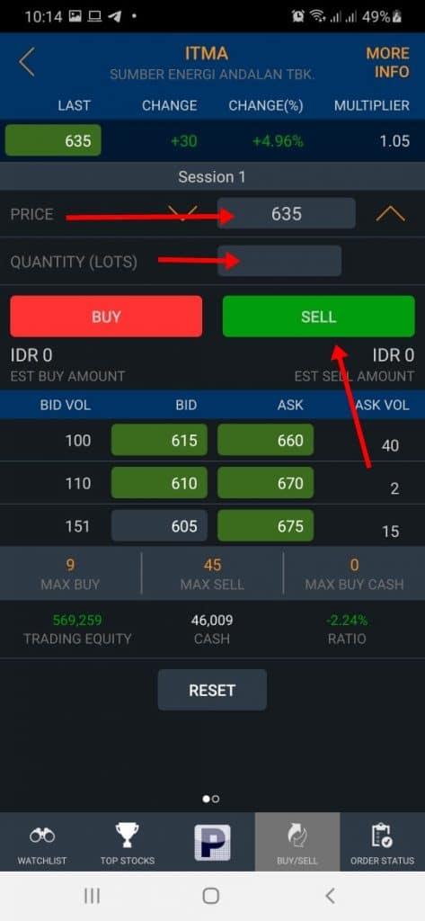 Klik sell untuk jual saham di aplikasi poems