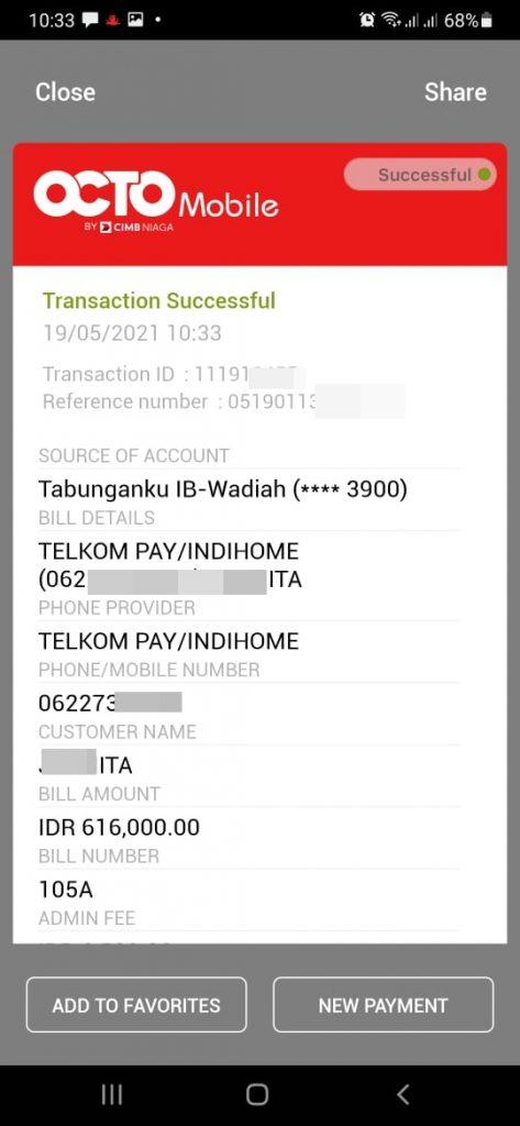 Pembayaran tagihan Indihome di OCTO Mobile